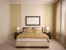 Interiores elegantes del dormitorio de la casa Fotos de archivo libres de regalías