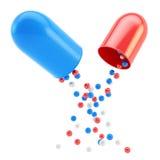 Interiores médicos de la cápsula de la píldora como elementos esféricos Imágenes de archivo libres de regalías