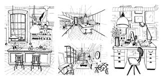 Interiores modernos das salas no estilo do sótão Grupo de ilustração tirada mão do esboço ilustração royalty free