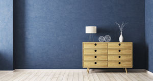 Interiorof room with wooden cabinet 3d rendering Royalty Free Stock Images