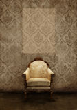 Interiors - Antique seat on damak Stock Image