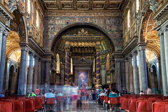 Interiors of Basilica of St. Mary Major in Rome. ROME, ITALY - JULY 11, 2015: Interiors of Basilica of St. Mary Major features beautiful and old mosaics. The Royalty Free Stock Images