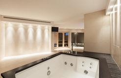 Interiors, bathroom with jacuzzi Royalty Free Stock Image