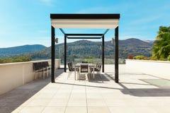 Interiors, beautiful veranda overlooking the lake Royalty Free Stock Photo