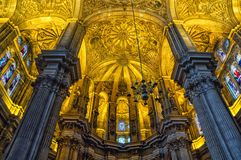 Interiors of Cathedral in Malaga, Andalusia Stock Images