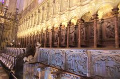 Interiors of Cathedral of Toledo royalty free stock images