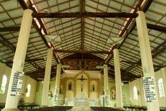 Interiors of catholic church in the coastal region Stock Photo