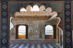 Interiors, City Palace, Udaipur, Rajasthan. Interiors, City Palace Udaipur Rajasthan India royalty free stock images