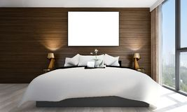 The interiors design idea of minimal bedroom and concrete wall and cityscape view and wood wall and picture frame. Thre modern bedroom interior design concept Royalty Free Stock Photo