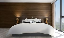 The interiors design idea of minimal bedroom and concrete wall and cityscape view and wood wall. Thre modern bedroom interior design concept decoration Stock Photos