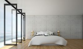 The interiors design idea of minimal bedroom and concrete wall and sea view in summer. Thre bedroom interior design idea Royalty Free Stock Photography