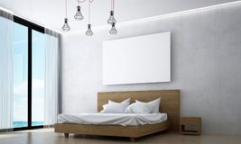 The interiors design idea of wood bedroom and concrete wall and sea view. 3d rendering interior design concept idea of bedroom Royalty Free Stock Photo