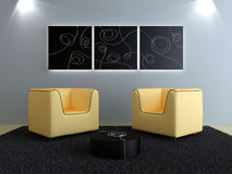 Interiors design - Peach seats and black modern de Royalty Free Stock Photos