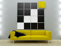 Interiors design - Yellow couch in modern style Stock Photos