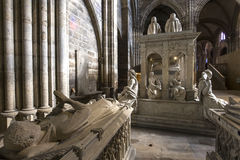 Interiors and details of basilica of saint-denis,  France. Interiors and details of basilica of saint-denis,  necropolis of french monarchs, February, 12, 2015 Stock Photography