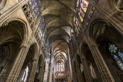 Interiors and details of basilica of saint-denis,  France Royalty Free Stock Photos