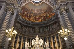 Interiors and details of La Madeleine church, Paris, France Royalty Free Stock Photo