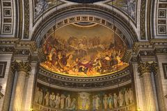 Interiors and details of La Madeleine church, Paris, France Royalty Free Stock Image