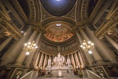 Interiors and details of La Madeleine church, Paris, France Stock Photos