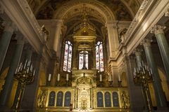 Interiors and details of La Trinite church, Paris, France Stock Photos