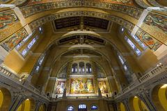 Interiors and details of Sainte-Therese basilica, Lisieux, France Royalty Free Stock Photos