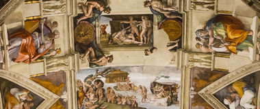 Interiors and details of the Sistine Chapel, Vatican city. VATICAN CITY, VATICAN, JUNE 15, 2015 : interiors and architectural details of the Sistine chapel, june Stock Photo