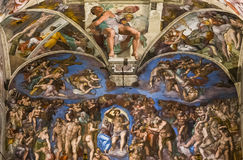 Interiors and details of the Sistine Chapel, Vatican city. VATICAN CITY, VATICAN, JUNE 15, 2015 : interiors and architectural details of the Sistine chapel, june Stock Image