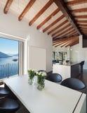 Interiors, dining table modern design Stock Photos