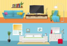 Interiors Flat Compositions. With comfortable furniture at lounge and bedroom in blue white colors  vector illustration Royalty Free Stock Images