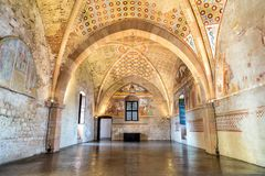 Interiors of Fortress Borromeo of Angera or Rocca di Anger, the Hall of Justice - Sala della Giustizia. Is Castle of the lake Magg Royalty Free Stock Images