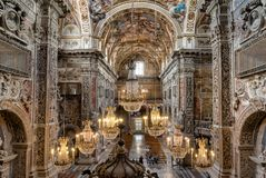 Free Interiors, Frescoes And Architectural Details Of The Santa Caterina Church In Palermo, Italy Stock Photography - 104956242