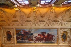 Interiors and frescoes of  Wallenstein Palace currently the home of the Czech Senate Royalty Free Stock Images