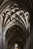 Interiors of a gothic cathedral, ceiling Royalty Free Stock Image