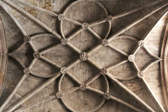Interiors of a gothic cathedral, detail of the ceiling Royalty Free Stock Image