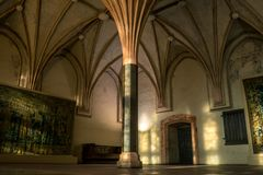 Interiors of hall in medieval Teutonic knights castle. In Malbork stock photos