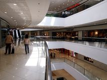 Interiors, hallways and stores inside the SM Megamall. Stock Photography