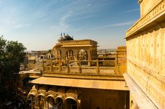 Interiors of Jaisalmer sonar quila with sandstone walls Royalty Free Stock Images
