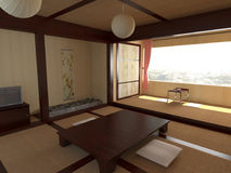 Interiors in Japanese style. 3D illustration Royalty Free Stock Images