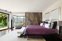 Interiors, luxury bedroom Stock Images