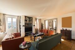 Interiors of modern apartment, living room. Interiors of modern apartment, nobody inside stock images