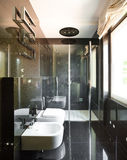 Interiors, modern bathroom. Interior modern house, black bathroom, toilet and bidet view stock images