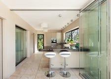 Interiors, modern kitchen. Architecture, modern house, beautiful interiors, kitchen Stock Photos