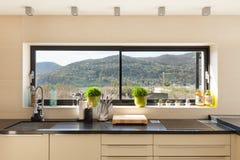 Interiors, modern kitchen. Architecture, modern house, beautiful interiors, detail kitchen Stock Photo