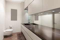 Interiors, modern restroom. Interiors of new apartment, modern restroom royalty free stock photos