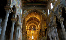 Interiors of the Monreale Cathedral in Sicily Royalty Free Stock Image