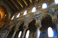 Interiors of the Monreale Cathedral in Sicily Royalty Free Stock Images