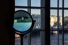 St. Petersburg, Russia-October 08, 2016: window overlooking the Hermitage Museum from the Museum of anthropology and Ethnography o. Interiors of the Museum of royalty free stock image