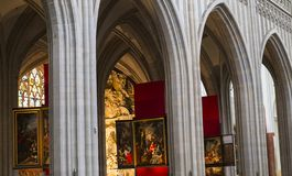 Interiors of Notre dame d'Anvers cathedral, Anvers, Belgium Stock Images