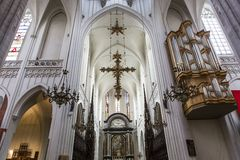 Interiors of Notre dame d'Anvers cathedral, Anvers, Belgium Royalty Free Stock Images