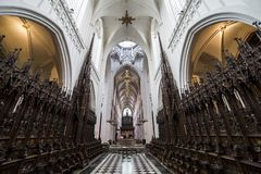 Interiors of Notre dame d'Anvers cathedral, Anvers, Belgium Stock Photography